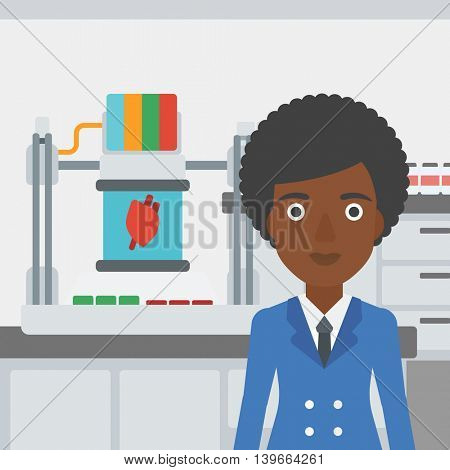 An african-american woman  with 3D printer making a heart on the background of laboratory. Woman working with 3D printer. Vector flat design illustration. Square layout.