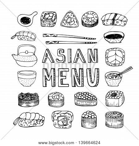 Asian menu. Asian kitchen. Asian food menu for restaurant, cafe. Asian food menu on chalkboard. Vector illustration