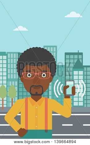 An african-american man holding ringing mobile phone on a city background. Man answering a phone call. Man with ringing phone in hand. Vector flat design illustration. Vertical layout.