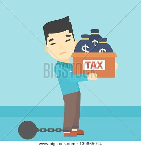 Chained to a large ball an asian businessman carrying heavy box with bags full of taxes. Vector flat design illustration. Square layout.