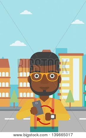 An african-american man holding smartphone and looking at his smart watch. Synchronization between smartwatch and smartphone. Vector flat design illustration. Vertical layout.