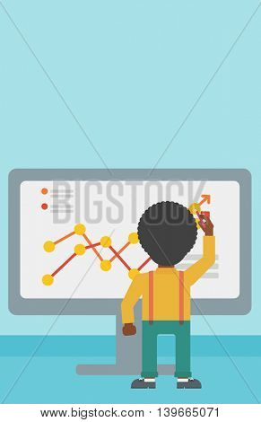 Rear view of an african-american businessman drawing infographic on the board. Man giving business presentation. Vector flat design illustration. Vertical layout.