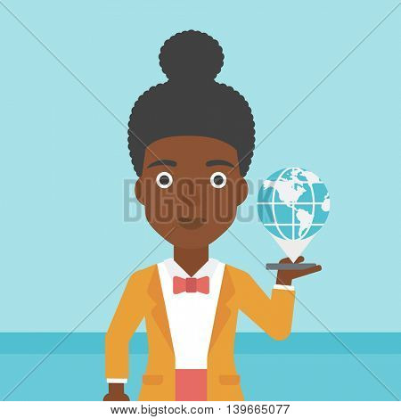 An african-american woman  holding a smartphone with a model of planet earth above the device. International technology communication concept. Vector flat design illustration. Square layout.