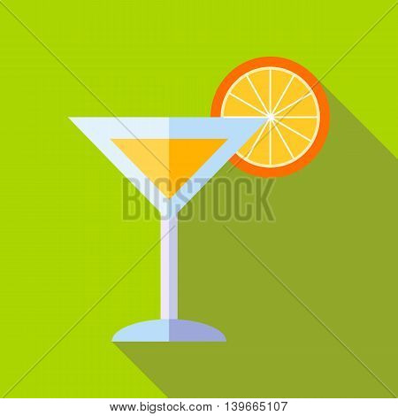 Cocktail with orange icon in flat style with long shadow. Drink symbol