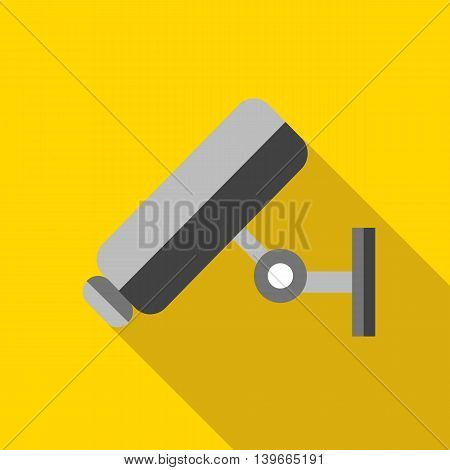 Video surveillance camera icon in flat style with long shadow. Recording symbol