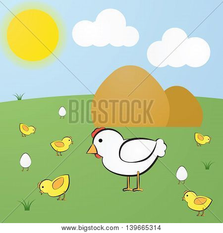 Funny Vector Cute Cartoon Yellow Hen, White Chick And Eggs With Legs
