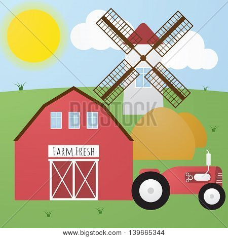 Funny vector cute cartoon farm with red tractor hangar white mill and hay. Sunny day. Farm fresh.