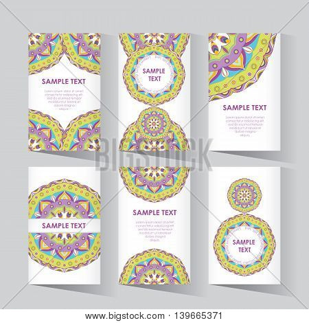 Trend vintage business card.Hipster style for Invitation, business contemporary design. Islam, Arabic, Indian, turkish, pakistan, chinese, ottoman motifs. Vector abstract card templates.