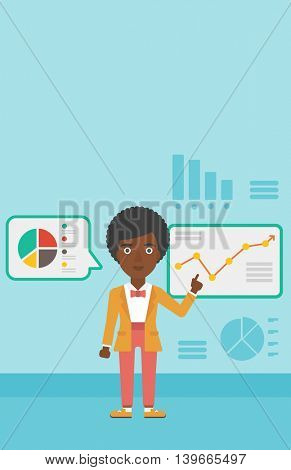 An african-american business woman pointing at charts on a board during business presentation. Woman giving a business presentation. Vector flat design illustration. Vertical layout.