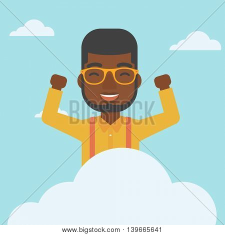 An african-american happy man with raised hands sitting on a cloud on the background of blue sky. Cloud computing concept. Vector flat design illustration. Square layout.