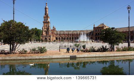 Plaza de Espana in Seville on a sunny day, Spain.