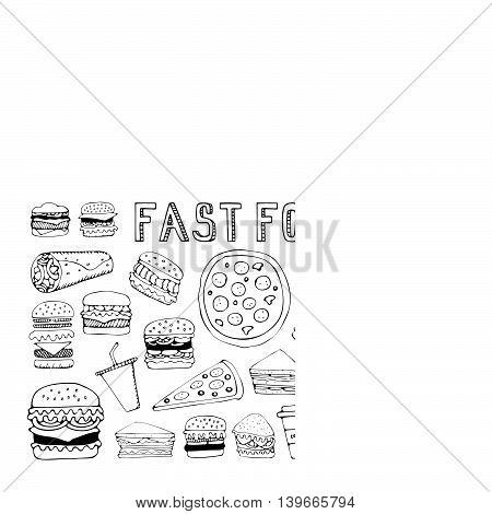 Fast food doodle set. Elements of fast food on the chalkboard. Vector illustration in sketch style. Hand drawn design elements.