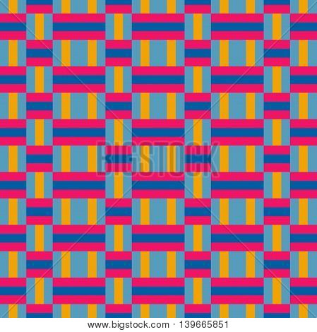 Weaving Seamless Pattern Background; Colorful Retro Color.