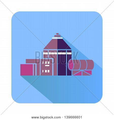 Chemical hangar icon in flat style with long shadow. Chemistry symbol