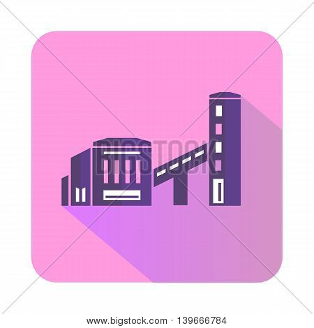 Building plant icon in flat style with long shadow. Chemistry symbol