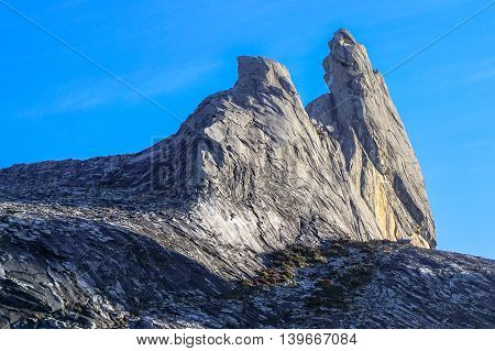 Ranau,Sabah,Borneo-March 13,2016:Closeup view of Donkey's Ear Peak on Mount Kinabalu after earthquake.Mt Kinabalu climbing season officially start on Dec 1,2015 due to earthquake on June 2015.