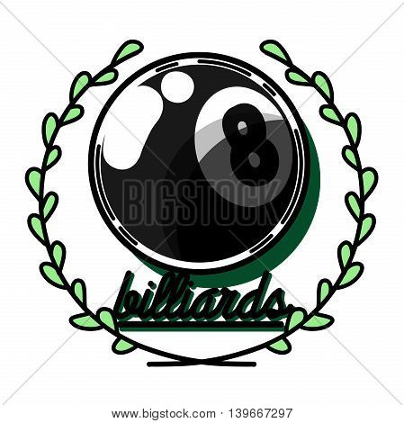 Billiards emblems labels and designed elements. Color Version.