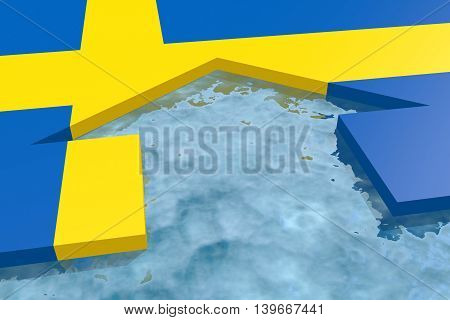 home icon in the water textured by Sweden flag. 3D rendering