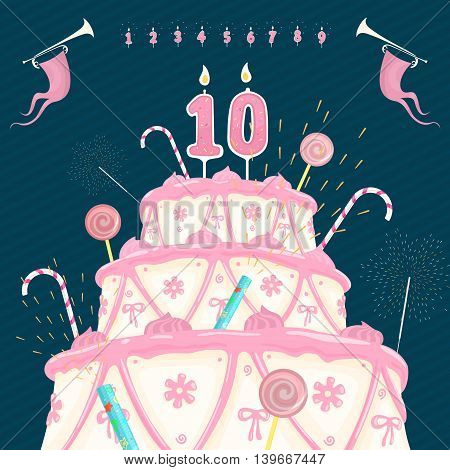 Number Candle and Cake Vector Illustration eps 8 file format