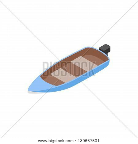 Blue motor boat icon in isometric 3d style isolated on white background. Maritime transport symbol