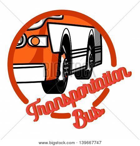 Color vintage bus transportation emblem, labels and designed elements. Color Version.