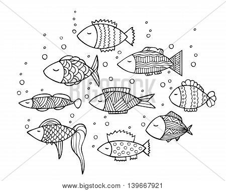 Adult coloring book page design with fish. Coloring book page for adult. Vector illustration in the style of zentangle, doodle, ethnic, tribal design.