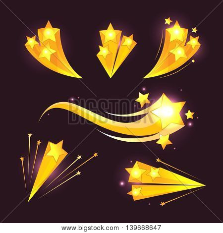 Stars burst cartoon vector elements vector on dark background. Group of bursting stars and flash stars