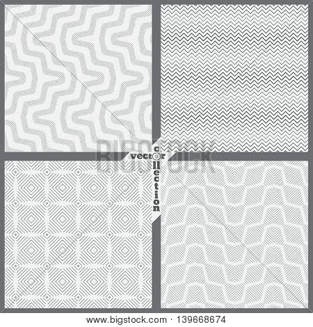 Set of vector seamless pattern. Abstract backgrounds. Modern stylish textures. Regularly repeating geometrical shapes zigzag line grid diamond. Vector element of graphical design