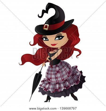 Charming witch in pin-up style. Witch isolated on white background. Beautiful character for Halloween in cartoon style. Vector illustration.