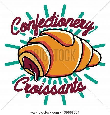 Color vintage confectionery emblem. Cake logo. Vector illustration, EPS 10