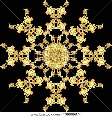 Golden flower pattern on the black background