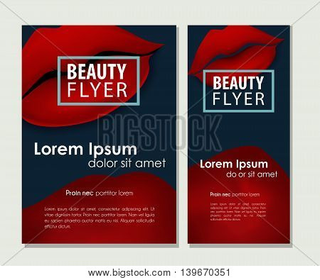 Makeup offer with sexy red vector lips. Beauty business card set.