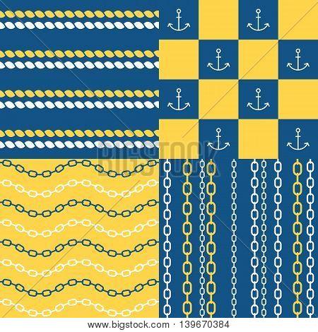 Vector marine seamless pattern set 1, chain