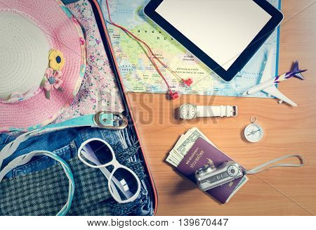 Set Of Travel Accessory Background