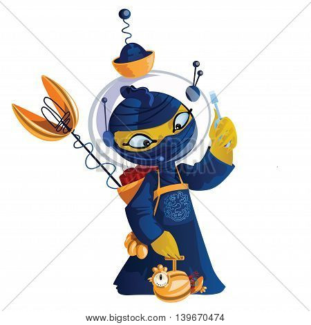 Yellow cock with dynamite in a blue kimono cartoon character. Cute cartoon character for your design.