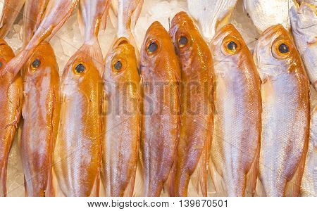 Whole Fresh Fishes Offered In The Fish Market In Asia