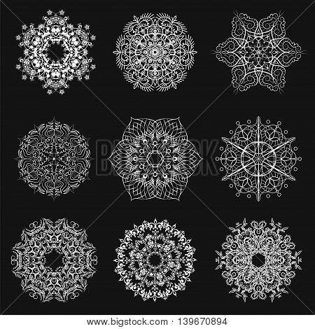 Set of different snowflakes for your design. Vector illustration.