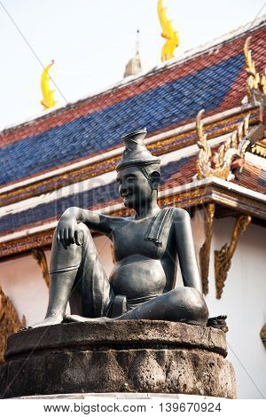 Statue Of Man In The Grand Palace In Bangkok