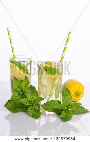 Fresh lemonade with mint leaves and lemon