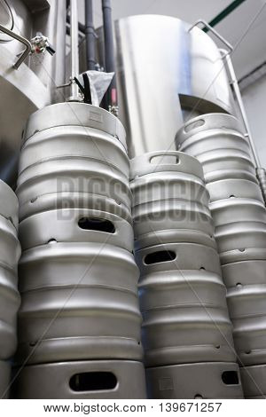 Stacked Keg and beer distillery at bewery