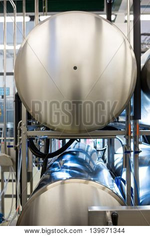 Close-up of beer tank at bewery