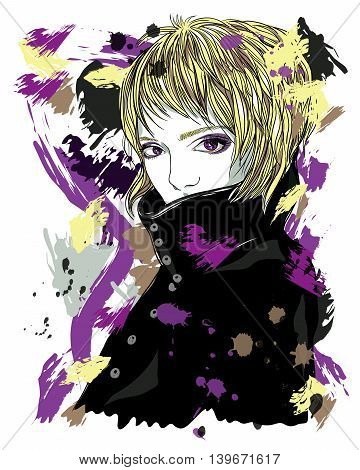 Portrait of a girl in a coat. A girl with short blonde hair. Fashion illustration on abstract background. Print for T-shirt