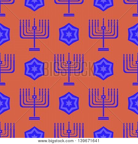 Blue David Star Seamless Background. Menorah Jewish Symbol of Religion