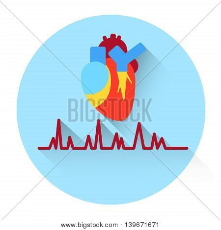 Heart Pulse Medicine Icon Flat Vector Illustration