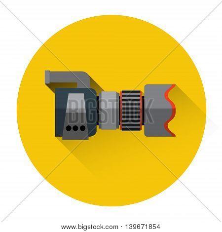Professional Photo Camera Icon Flat Vector Illustration