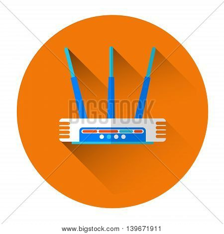 Wifi Router Internet Connection Icon Flat Vector Illustration