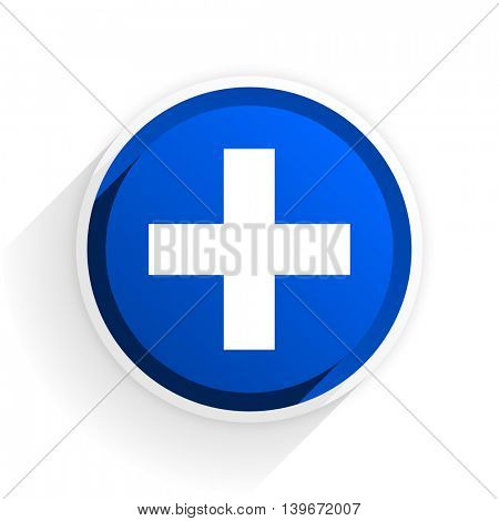 plus flat icon with shadow on white background, blue modern design web element