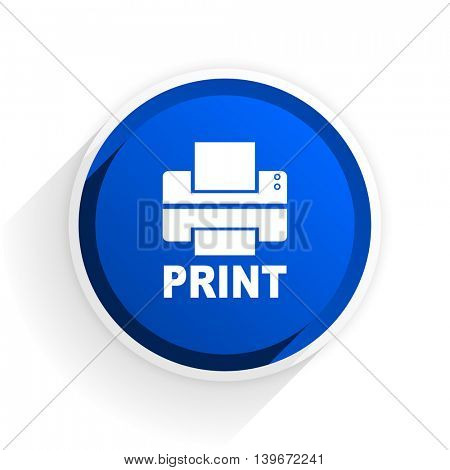 printer flat icon with shadow on white background, blue modern design web element