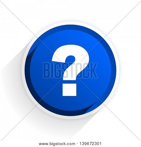 question mark flat icon with shadow on white background, blue modern design web element