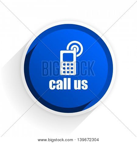 call us flat icon with shadow on white background, blue modern design web element